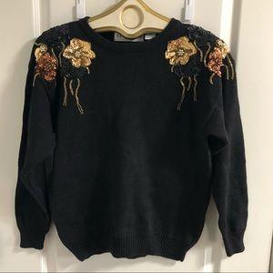 Black long sleeve sweater sequins beaded shoulder
